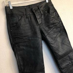 G Star Waxed coated black skinny 3301 jeans